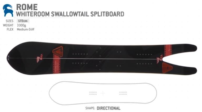 Rome Whiteroom Swallowtail Splitboard